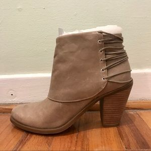 Jessica Simpson Taupe Leather Booties